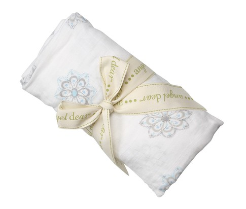 Blue Damask Bamboo Swaddle Blanket