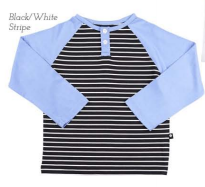 Raglan Button T Black/White Stripe