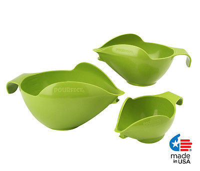 POURfect Mixing Bowls 3pc Prep Set 1005 - 1-2-4 Cup Made in USA