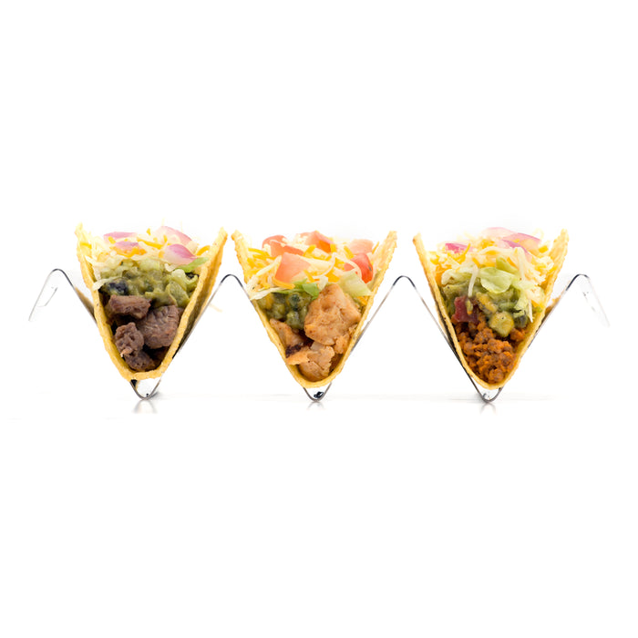 Hot Ash Stainless Steel Taco Stand holds 3 tacos