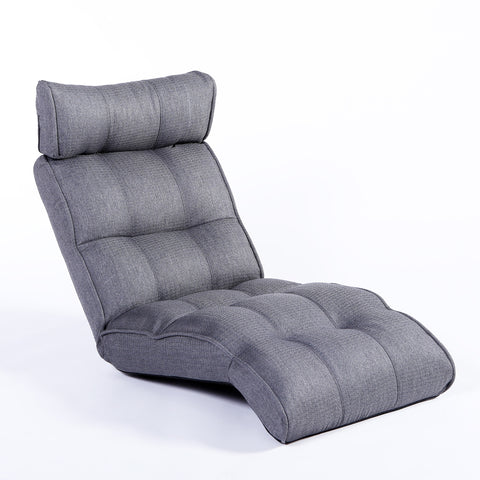 Basic Floor Sofa Chair Recliner, Steel Gray Soft Fabric