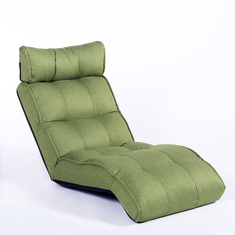 Basic Floor Sofa Chair Recliner, Parrot Green Soft Fabric