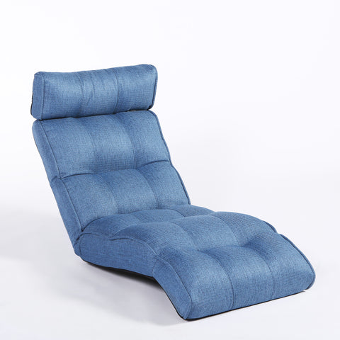 Basic Floor Sofa Chair Recliner, Dusty Blue Soft Fabric