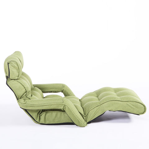 Pro Floor Sofa Chair Recliner with Armrest, Parrot Green Soft Fabric