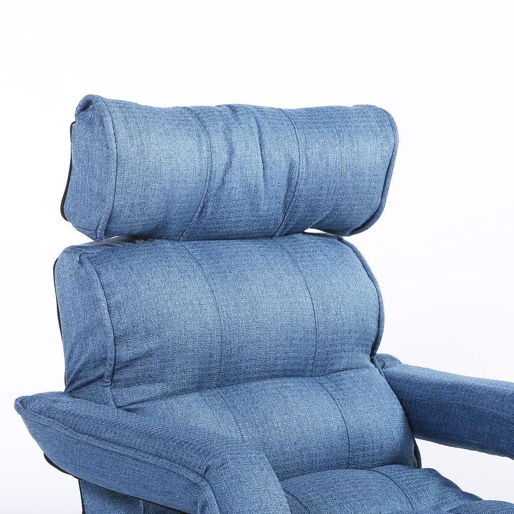 Dusty Blue Floor Sofa Chair Recliner with Armrest for