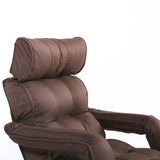 Pro Floor Sofa Chair Recliner with Armrest, Dark Brown Soft Fabric