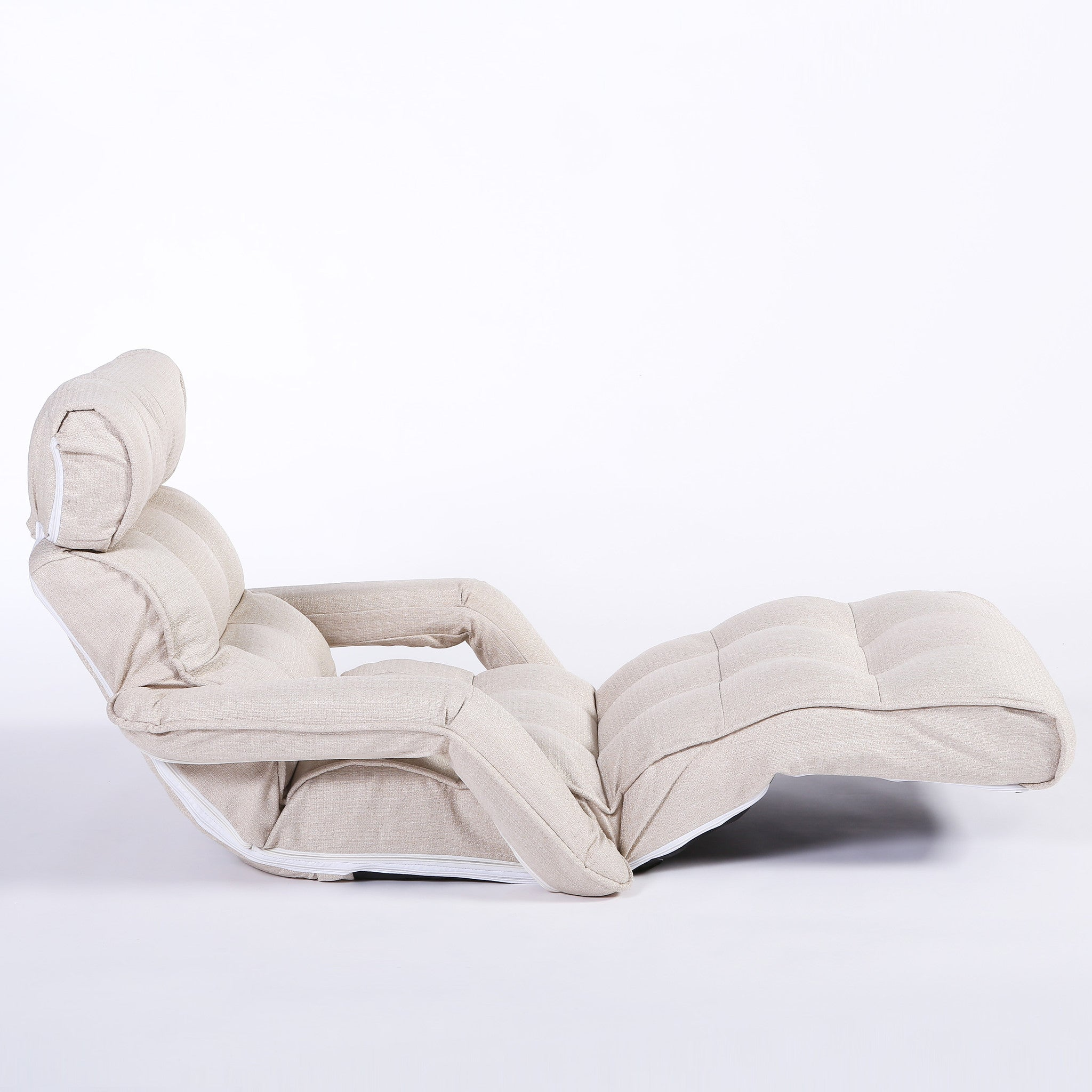 Pro Floor Sofa Chair Recliner With Armrest, White Soft Fabric