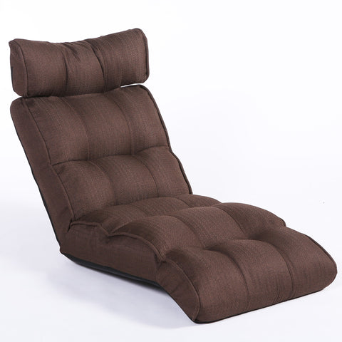Basic Floor Sofa Chair Recliner, Dark Brown Soft Fabric