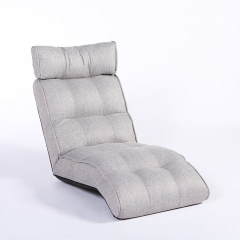Basic Floor Sofa Chair Recliner, Oyster Gray Soft Fabric