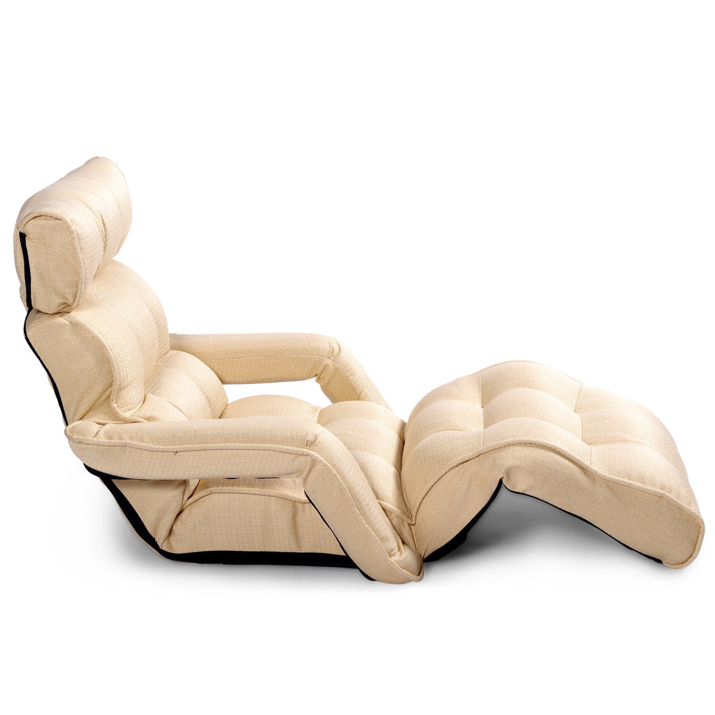 ... Pro Floor Sofa Chair Recliner With Armrest, Buttercup Yellow Soft Fabric