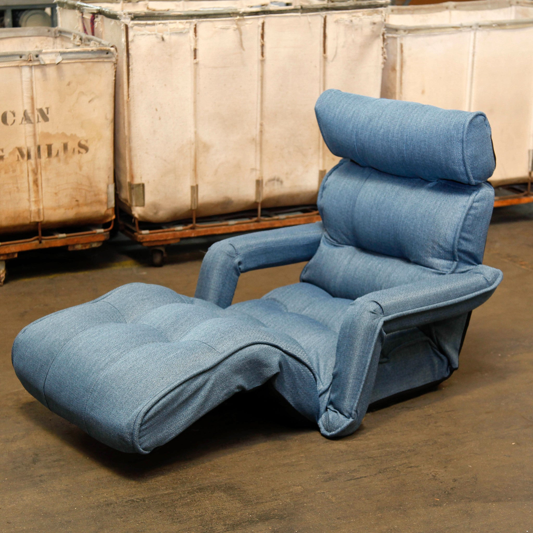 Lovely Pro Floor Sofa Chair Recliner With Armrest, Dusty Blue Soft Fabric