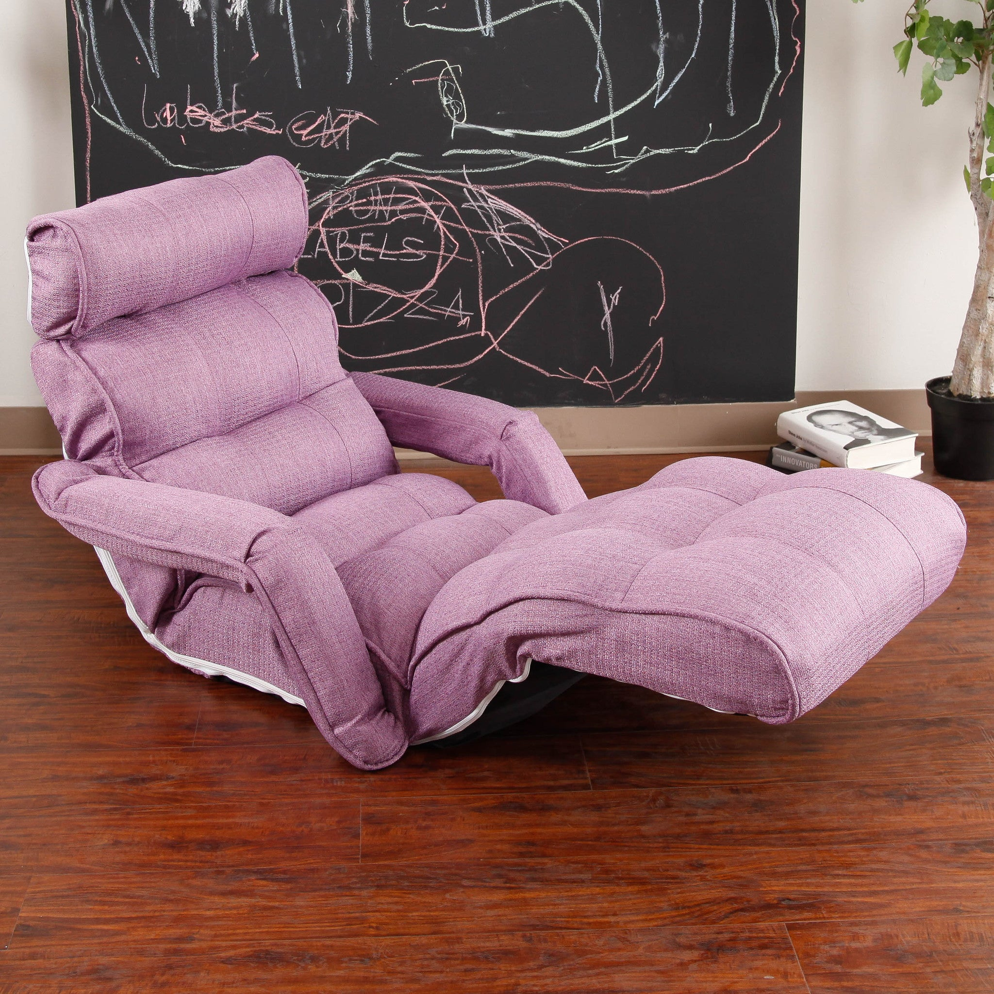 Pro Floor Sofa Chair Recliner With Armrest, Deep Lavender Soft Fabric