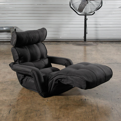 Pro Floor Sofa Chair Recliner with Armrest, Black Soft  Fabric