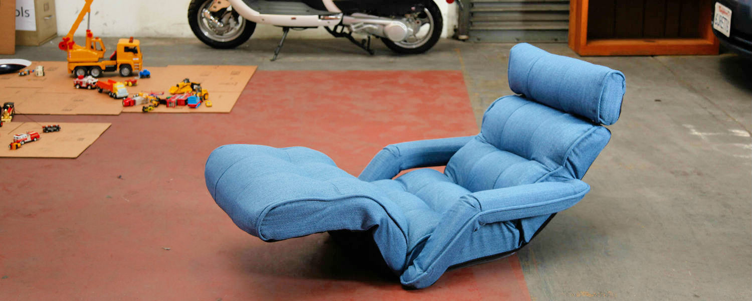 blue floor sofa chair