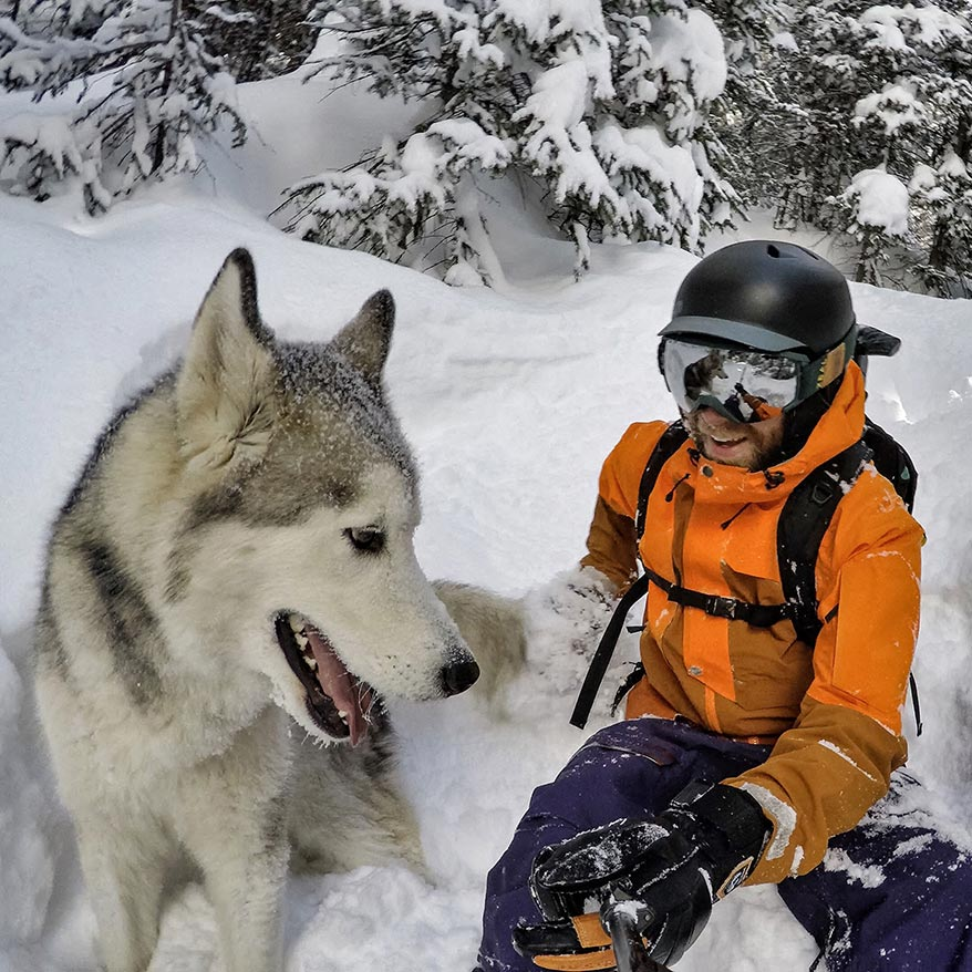 Loki the Wolfdog with his owner Kelly Lund - GoWorx Blog
