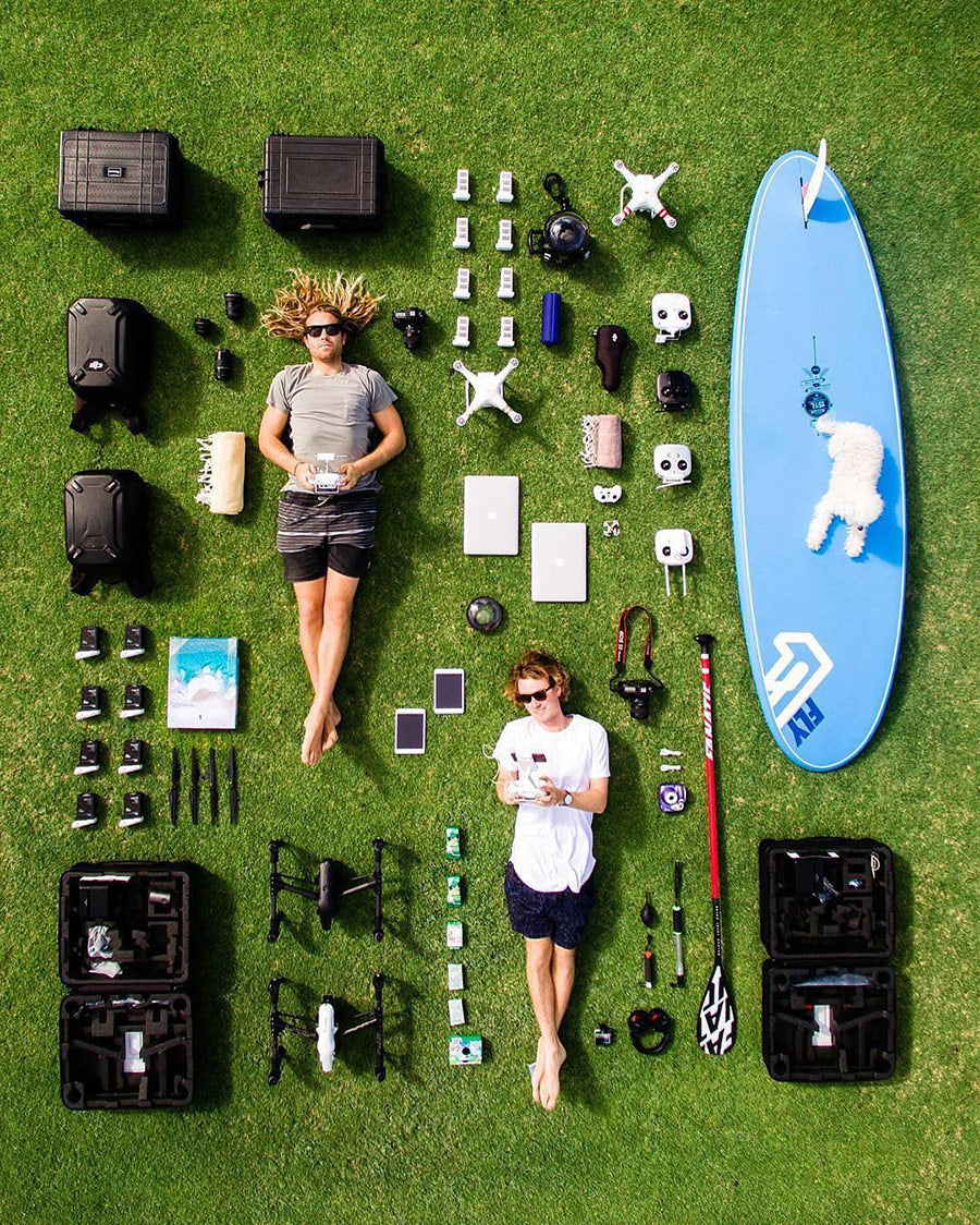 Overhead Drone Photo by Salty Wings - Gear Laid Out | GoWorx