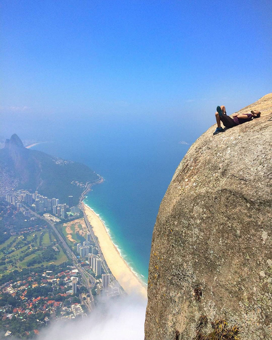Sitting on Epic Rock in Brazil - Looking over City and Beach!