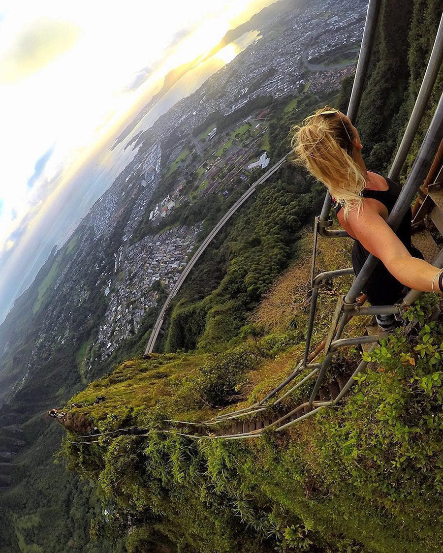 Climbing the Stairway to Heaven Trail in Hawaii with a GoPro camera
