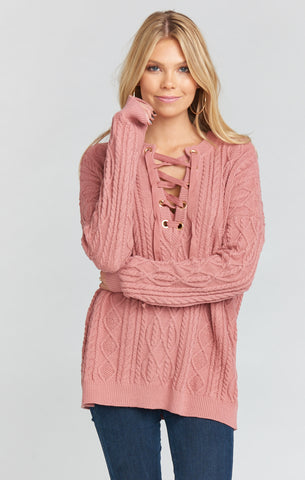 Lance Lace Up Sweater ~ Mauve Cable Knit
