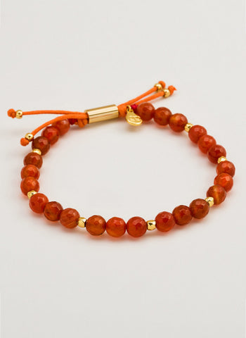 Power Gemstone Orange Agate Beaded Bracelet For Confidence