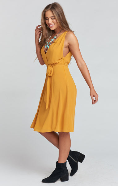 CYNTHIA CROSSOVER DRESS ~ HARVEST MOON CHIFFON