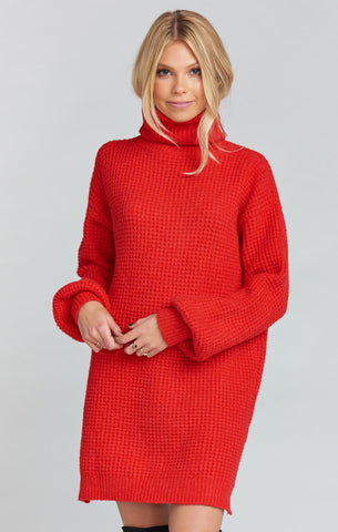 CHESTER SWEATER DRESS ~ HOLLY RED