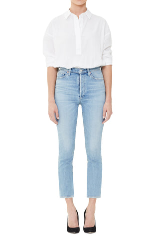 Olivia Crop High Rise Slim Ankle in Renew