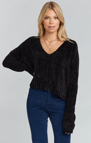 Hug Me Crop Sweater ~ Black Chenille