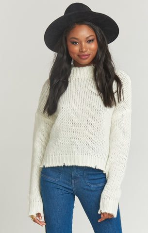 Cody Crop Sweater ~ Distressed Cream Knit