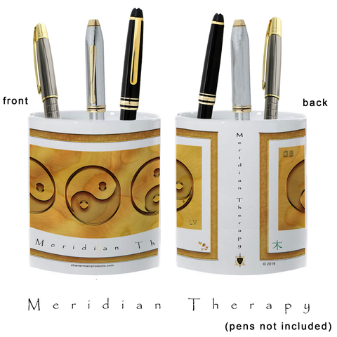 Yin Yang Pencil Holder-Meridian Therapy-Wood-11 oz. pencil holder