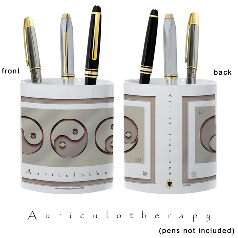 Yin Yang Pencil Holder-Metal-Auriculotherapy-11 oz. pencil holder