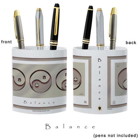Yin Yang Pencil Holder-Metal-Balance-11 oz. pencil holder