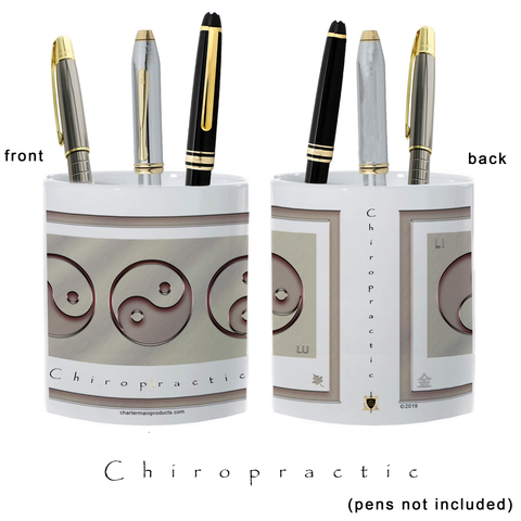 Yin Yang Pencil Holder-Metal-Chiropractic-11 oz. pencil holder