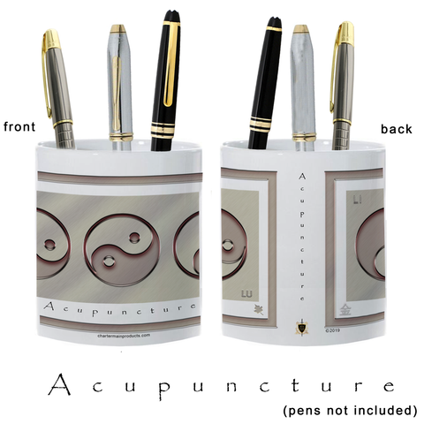 Yin Yang Pencil Holder-Metal-Acupuncture-11 oz. pencil holder
