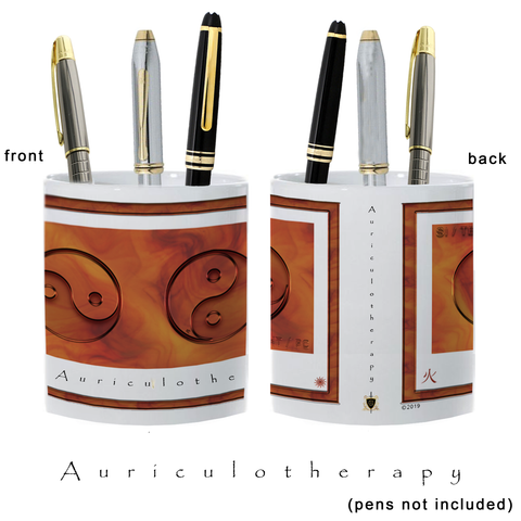 Yin Yang Pencil Holder-Auriculotherapy-Fire-11 oz. pencil holder