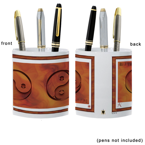 Yin Yang Pencil Holder-Fire-NO LETTERING-11 oz. pencil holder