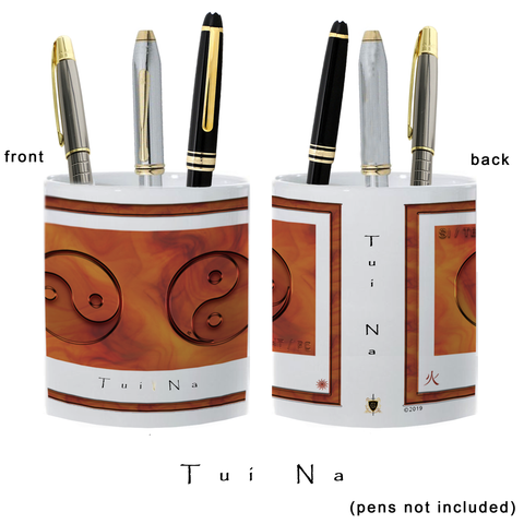 Yin Yang Pencil Holder-Fire-Tui Na-11 oz. pencil holder