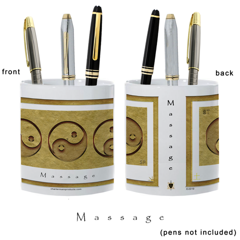 Yin Yang Pencil Holder-Earth-Massage-11 oz. pencil holder