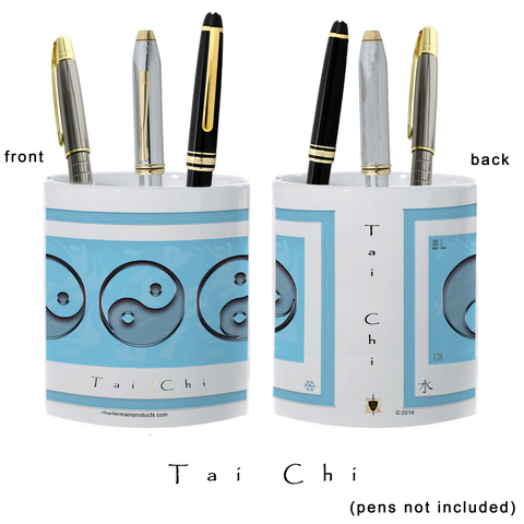 Yin Yang Pencil Holder-Water-Tai Chi-11 oz. pencil holder