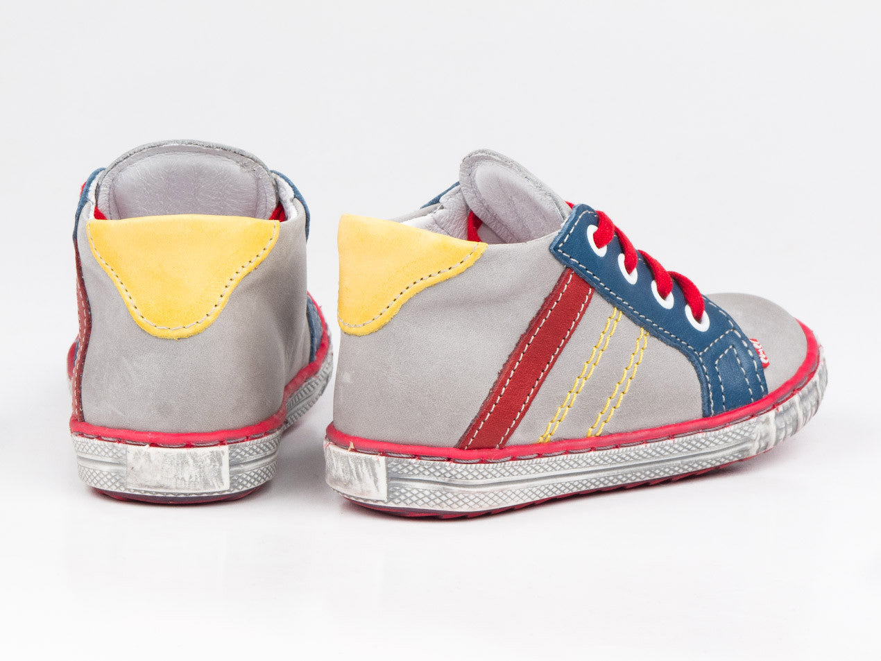 dd9fe658f Emel Grey/Red/Navy Leather Lace Up Trainers - Emel Shoes UK