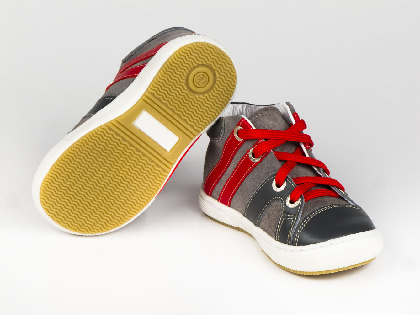 c3b8f83c6 Emel Grey/Red Leather/Suede Lace Up Trainers - Emel Shoes UK