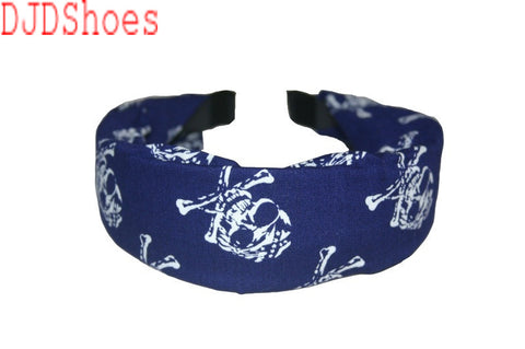 Cloth Pirate Skull and Crossbones Hair Band (Various Colours)