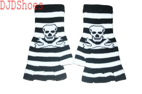 Black and White Skull Fingerless Gloves