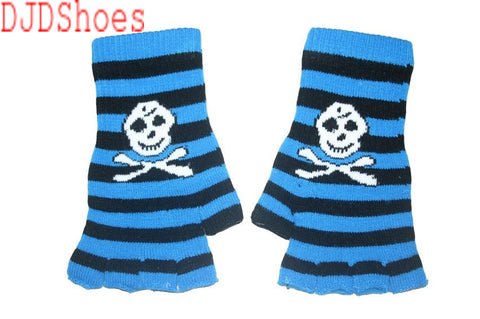 Black and Blue Skull Fingerless Gloves