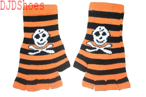 Black and Orange Skull Fingerless Gloves