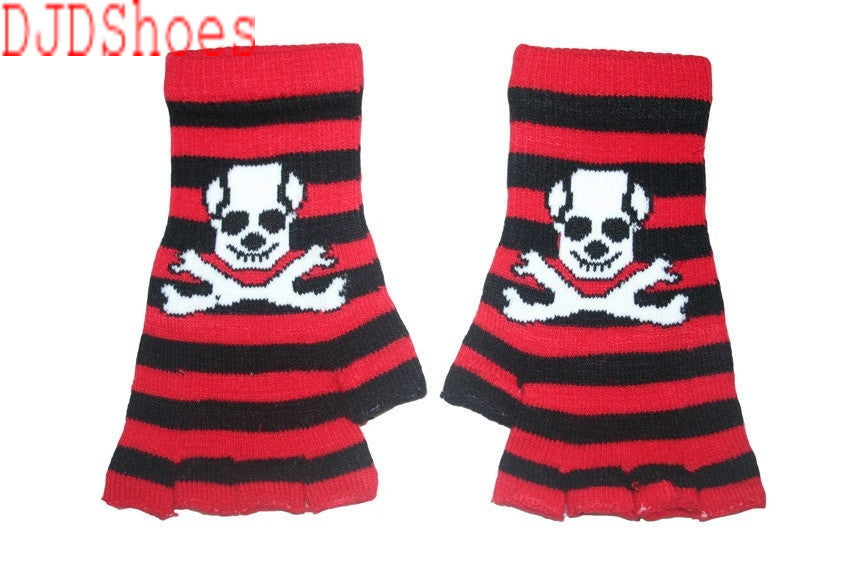 Black and Red Skull Fingerless Gloves