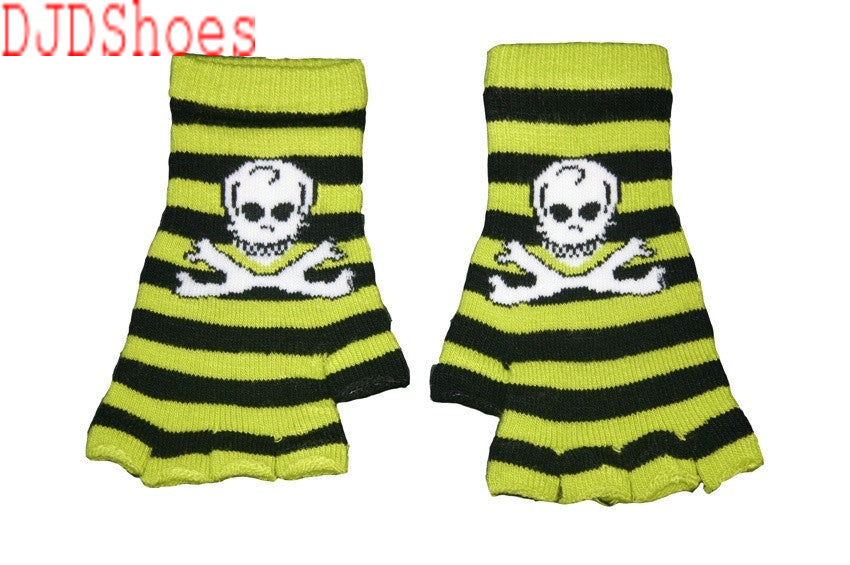 Black and Green Skull Fingerless Gloves