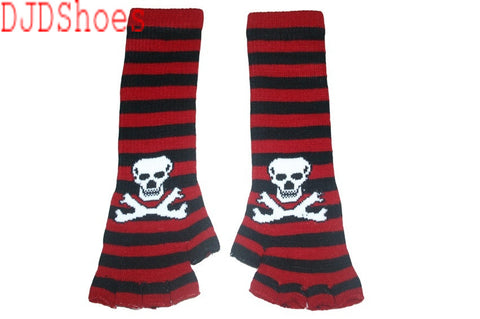 Black and Red Skull Arm Length Fingerless Gloves