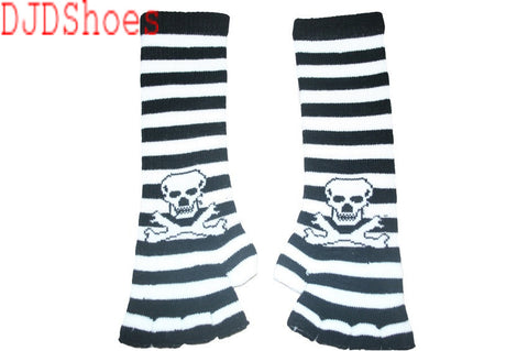Black and White Skull Arm Length Fingerless Gloves