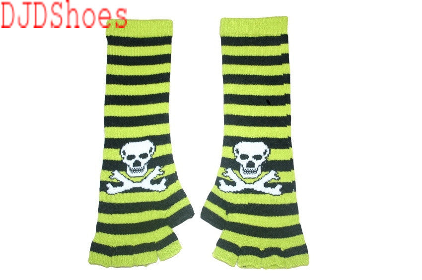Black and Green Skull Arm Length Fingerless Gloves